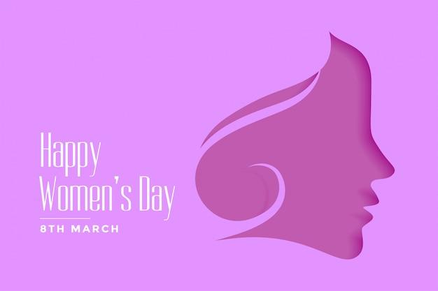 幸せな女性の日紫papercutスタイルの背景