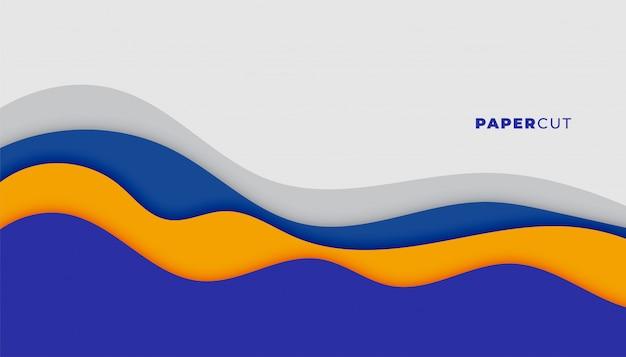Papercutスタイルの抽象的な青い波状の背景デザイン