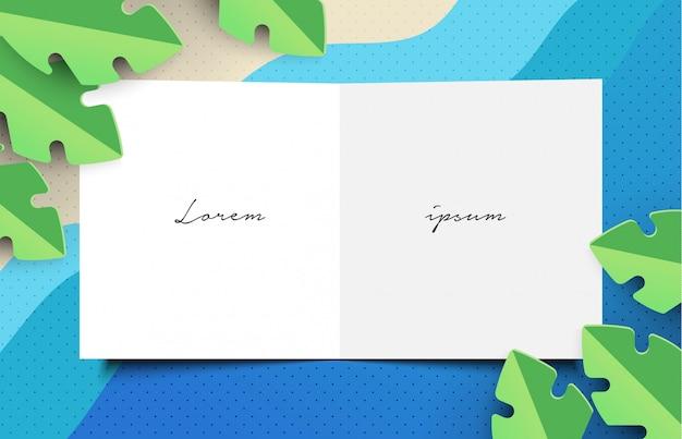 Шаблон иллюстрации письма papercut тропического пляжа