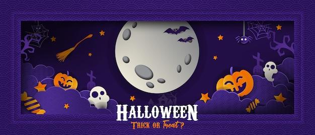 Счастливый хэллоуин papercut стиль баннер