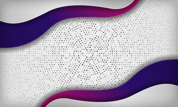 Белая абстрактная волна papercut наслаивает предпосылку с красочным фиолетовым градиентом. текстура с серебряным кругом радиальной полутонов.