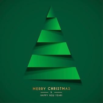 Papercutクリスマスツリーと抽象的なクリスマスカードテンプレート