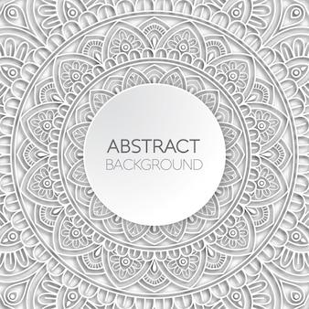 Papercut白い曼荼羅の背景。