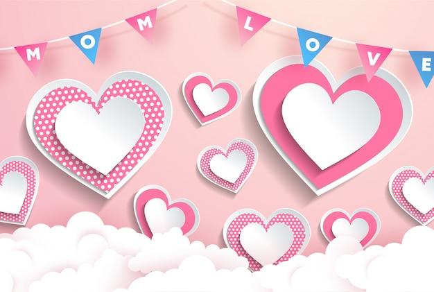 Прекрасные розовые элементы в форме сердца, papercut, день матери