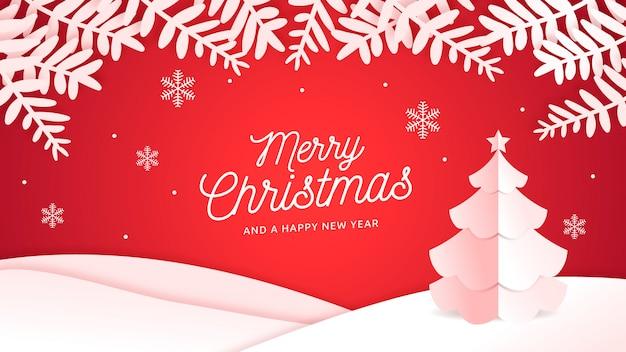 Рождественский фон в стиле papercut