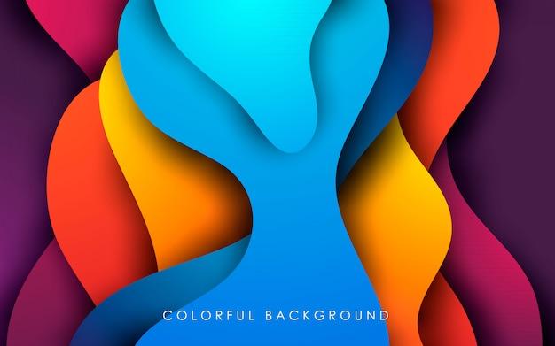 Градиент жидкого цвета papercut фон