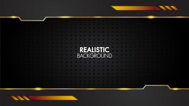 Черный и золотой фон абстрактный реалистичный слоистый papercut мат геометрический