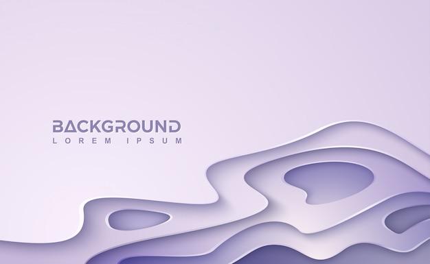 紫色の波状のベクトルの背景。波状の層を持つ抽象紫papercut。