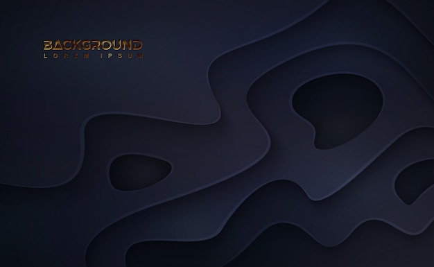 波状の層と抽象的な黒いpapercut背景。