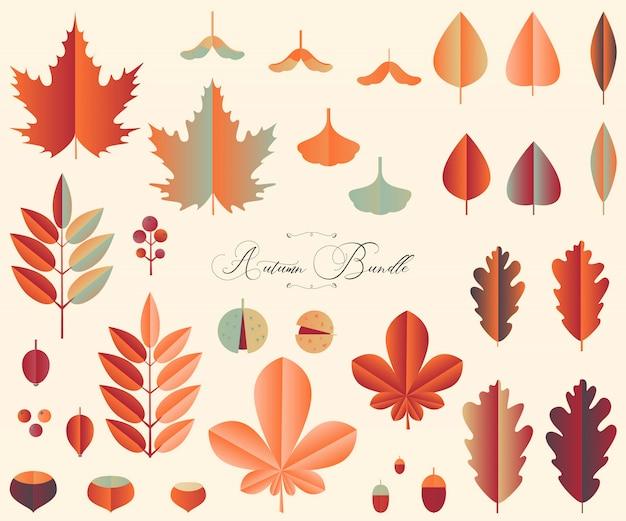 秋の葉と果物のpapercutスタイルのバンドル