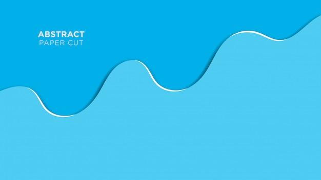 Абстрактный papercut фон голубая волна перекрытия дизайн