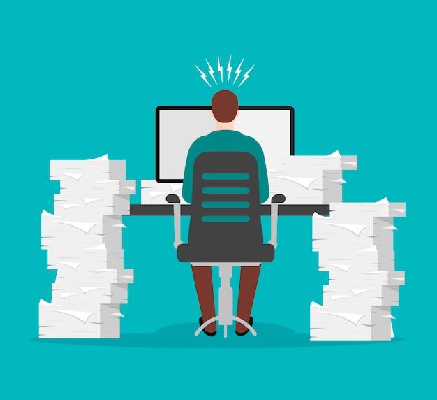 Оформление документов и офисная рутина. занятый бизнесмен в стрессе за рабочим столом среди многих документов. стопка листов бумаги. куча официальных документов
