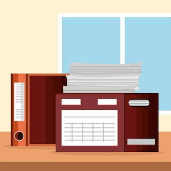 Paperwork boxes in office