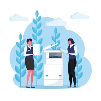 プリンター、オフィス複合機の事務処理。紙の山、ドキュメントのスタックで忙しい女性。女の子はコピー機で動作します。労働者はスキャナーでコピーを作成します。官僚。設計