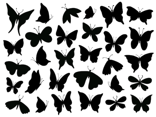 Papillon silhouette, mariposa butterfly wing, moth wings silhouettes and spring flower butterflies isolated   set