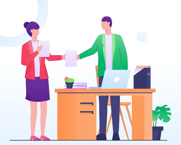 Человек дает работу papper женщине плоской иллюстрации