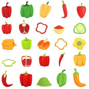 Набор иконок paprica. мультфильм набор векторных иконок паприки для веб-дизайна