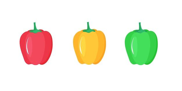 파프리카. 빨간색, 노란색 및 녹색 고추입니다. 신선한 야채.
