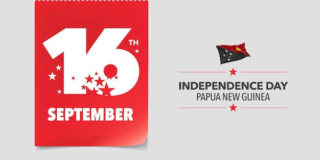 Papua new guinea independence day greeting card banner vector illustration