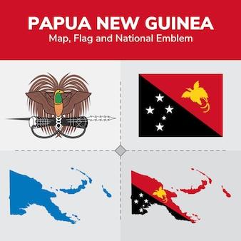 Карта папуа-новой гвинеи, флаг и национальный герб