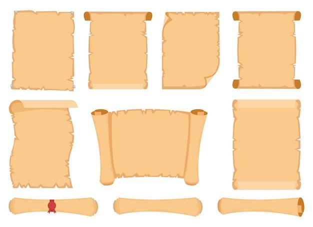 파피루스 스크롤 디자인 일러스트 흰색 배경에 고립