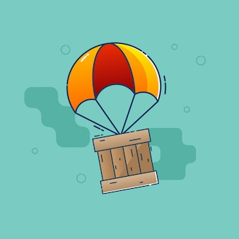 Parachute flying with wooden box