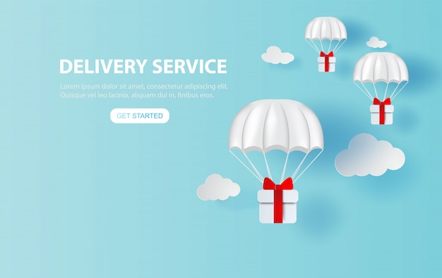 Parachute gift box floating on smartphone.delivery service app
