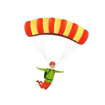 낙하산 점프. 행복한 낙하산 조종사는 낙하산을 타고 하늘에서 내려옵니다. 스포츠 활동의 개념, 공중에서 자연에 여가.