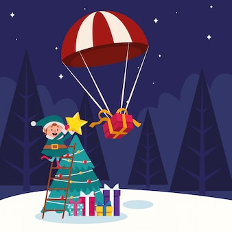 Parachute with gift box and christmas tree and santas helper with gift boxes