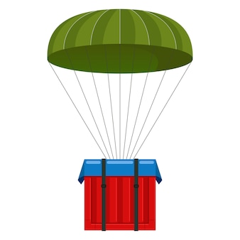 Parachute with a load. online game. call chain box with supplies