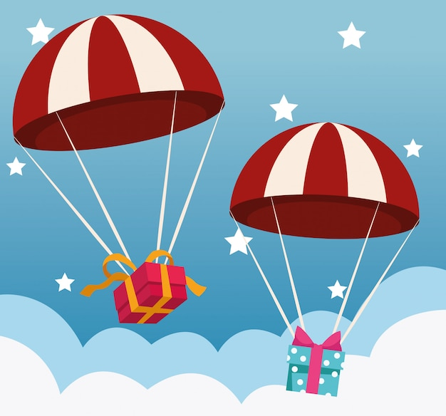 Parachutes with gift boxes over sky with stars