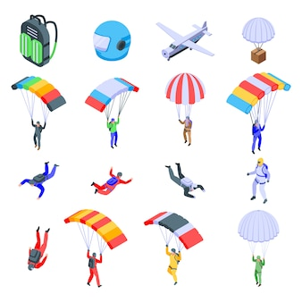 Parachuting icons set, isometric style