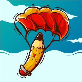 Parachuting pencil cartoon illustration premium vector