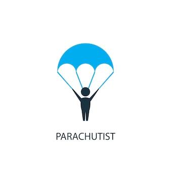 Парашютист значок. иллюстрация элемента логотипа. дизайн символа парашютиста из 2-х цветной коллекции. простая концепция парашютиста. может использоваться в интернете и на мобильных устройствах.