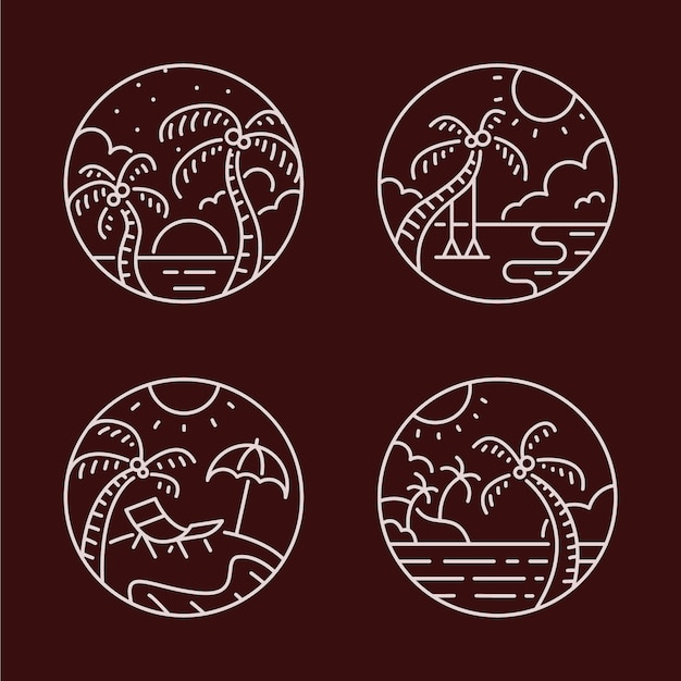 パラダイスビーチラインアートのロゴセット
