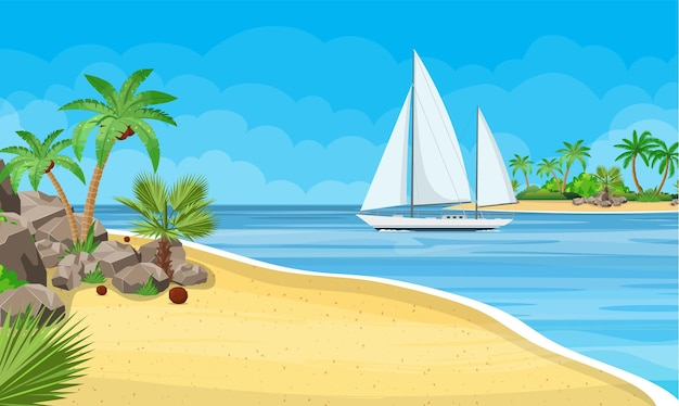 Paradise beach of the sea with yachts and palm trees. tropical island resort.