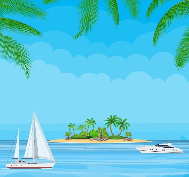 Paradise beach of the sea with yachts and palm trees.