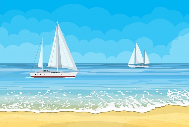 Paradise beach of the sea with yachts