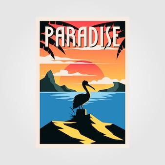 パラダイスビーチビンテージポスターペリカン鳥