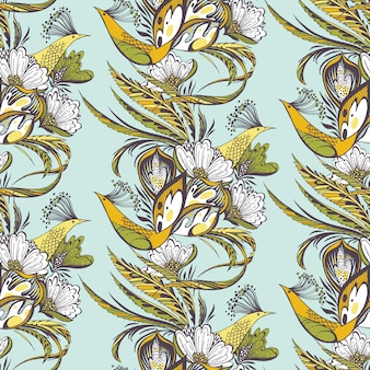Paradise birds seamless eastern pattern in blue and yellow