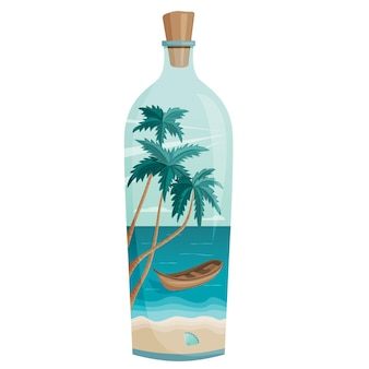 A paradise in a bottle summer in a bottle the concept of summer holidays and travel