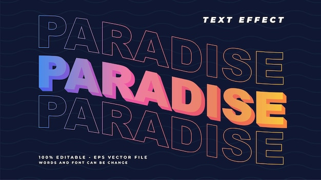 Paradise gradient text effect style with rainbow color