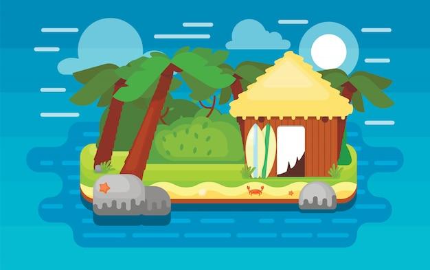 Paradise island illustration