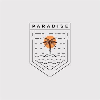 パラダイス線画ロゴベクトルイラストデザイン。ココナッツの木のミニマリストバッジアイコン。ヤシの木のアウトライン記号