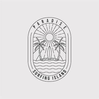 パラダイス線画ロゴベクトルイラストデザイン。サーフィン島のエンブレムのシンボル。ヤシの木の線画アイコン