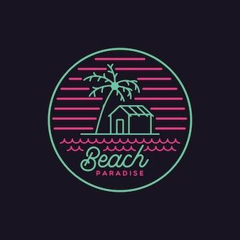 Плоский винтажный пляж paradise logo