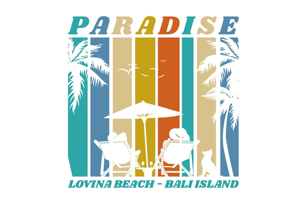 Paradise loving beach, design sleety retro style