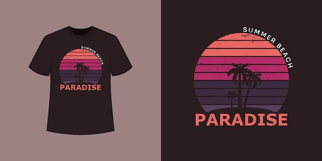 Стиль футболки paradise ocean beach и модный дизайн одежды с силуэтами деревьев, типографикой, принтом, векторной иллюстрацией.