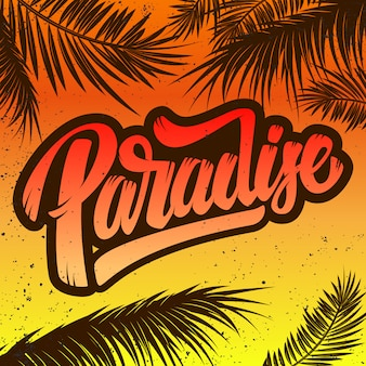 Paradise.  poster template with lettering and palms.  illustration