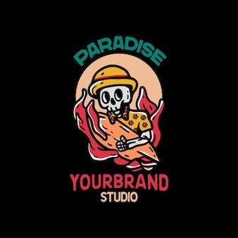 Paradise skull beach vintage style